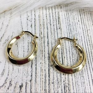 Israel Gold Over Sterling Hoop Earrings